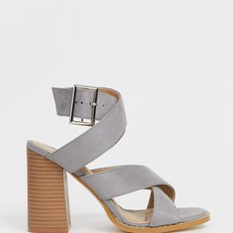 RAID Wide Fit Abree gray stacked heel sandals | ASOS (Global)