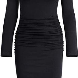 Missufe Women's Long Sleeve Ruched Casual Sundress Midi Bodycon Sheath Dress   Amazon (US)
