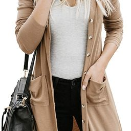 Dokotoo Womens Snap Button Down Pocketed Open Front Long Knited Cardigan Outerwear | Amazon (US)