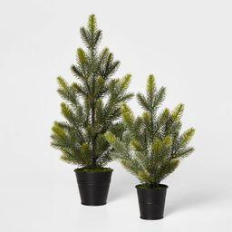 Large Greenery Christmas Tree in Black Bucket Decorative Figurine Green - Wondershop™ | Target