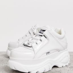 Buffalo London classic lowtop sneakers in white patent | ASOS (Global)