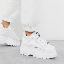 Buffalo London classic lowtop platform chunky trainers in white | ASOS (Global)