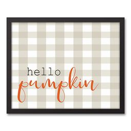 "Designs Direct ""Hello Pumpkin"" 22-Inch x 18-Inch Framed Wall Art | Bed Bath & Beyond"