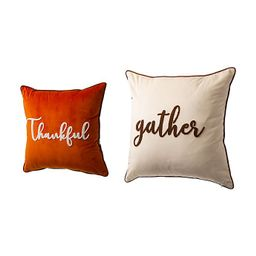 """Glitzhome® """"Gather"""" and """"Thankful"""" Velvet Pillow Cover Collection 