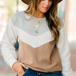 I Gotta Know Mocha Brown Colorblock Sweater   The Mint Julep Boutique