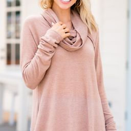 The One You Want Latte Brown Cowl Neck Sweater   The Mint Julep Boutique