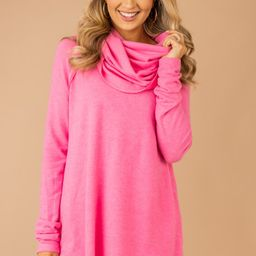 The One You Want Candy Pink Cowl Neck Sweater   The Mint Julep Boutique