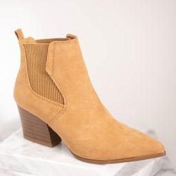 Rule Breaker Taupe Brown Heeled Booties   The Mint Julep Boutique