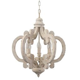 Cottage Chic Crown 6-light Farmhouse Wood Chandelier   Overstock