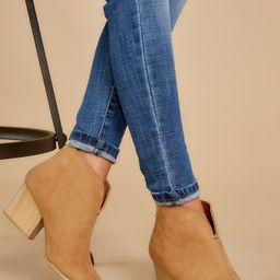 Photo Finish Tan Ankle Boots   Red Dress