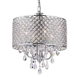 Edvivi Marya 4-Light Chrome Round Chandelier with Beaded Drum/Hanging Clear Crystal Glass Teardro...   The Home Depot