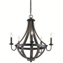Kichler Merlot 5-Light Distressed Black and Wood Farmhouse Chandelier Lowes.com   Lowe's