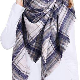 Bess Bridal Women's Plaid Blanket Winter Scarf Warm Cozy Tartan Wrap Oversized Shawl Cape | Amazon (US)