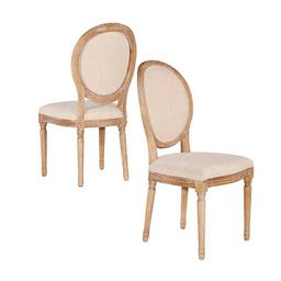 Natural Oval Back Linen Dining Chairs, Set of 2   Kirkland's Home