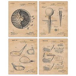 Vintage Golf Patent Poster Prints, Set of 4 (8x10) Unframed Photos, Great Wall Art Decor Gifts Un...   Amazon (US)