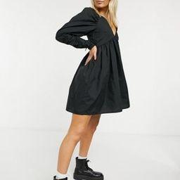 ASOS DESIGN cotton babydoll mini dress in black | ASOS (Global)