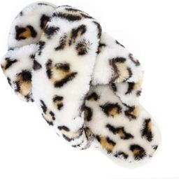 Womens House Fuzzy Slippers Leopard Cross Band Soft Plush FluffySlippers Furry Fleece Slip on S... | Amazon (US)
