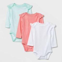 Baby Girls' 3pk Long Sleeve Basic Bodysuit - Cloud Island™ Coral | Target