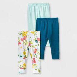 Baby Girls' 3pc Floral Fields Leggings - Cloud Island™ Mint Green | Target