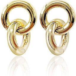 S tonn Women's Fashion Jewelry 18k White,Gold Plated Metal Link Drop Earrings (20mm Height)   Amazon (US)