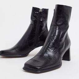 ASOS DESIGN Roisin premium leather square toe boots in black   ASOS (Global)
