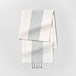 Knotted Fringe Stripe Table Runner Sour Cream/Blue - Hearth & Hand™ with Magnolia | Target