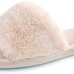 Women's Faux Fur Slippers Fuzzy Flat Spa Fluffy Open Toe House Shoes Indoor Outdoor Slip on Memor... | Amazon (US)