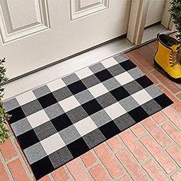 MUBIN Buffalo Plaid Door Mat/Rug Black/White Check Rugs 23.5 x 35.4 Inches Hand-Woven Indoor or O... | Amazon (US)