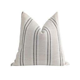 Black White & Natural Beige Textured Stripe Pillow   Land of Pillows