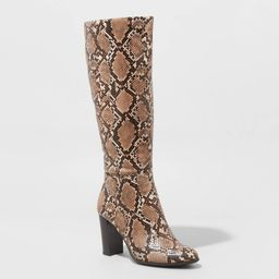 Women's Brandee Snake Print Knee High Heeled Fashion Boots - A New Day Taupe 10, Brown   Target