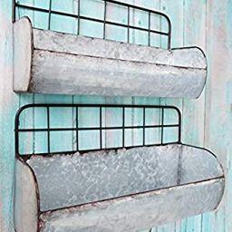 ShabbyDecor Galvanized Metal Industrial Wall Storage Holder, Set of 2 Rustic Tin Shelves | Amazon (US)