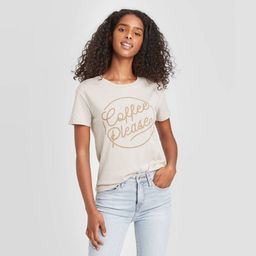Women's Coffee Please Short Sleeve Graphic T-Shirt - Taupe   Target