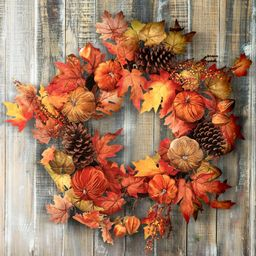 """26"""" Velvet Pumpkin Harvest Leaves Wreath - 26-Inches (Harvest Mix - Centerpieces - 26-Inches - Polye 