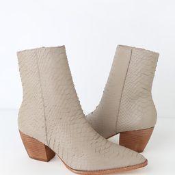 Caty Ivory Leather Snakeskin Mid-Calf Boots | Lulus (US)