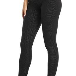 Colorfulkoala Women's High Waisted Embossed Pattern Leggings Full Length Yoga Pants | Amazon (US)