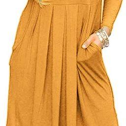 Basic Faith Women's Long Sleeve Pleated Loose Swing Casual Dress with Pockets Knee Length | Amazon (US)