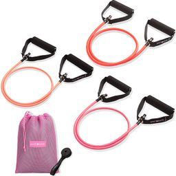 PEACH BANDS Resistance Tube Bands Set - Exercise Bands with Handles, Door Anchor and Workout Guid... | Amazon (US)