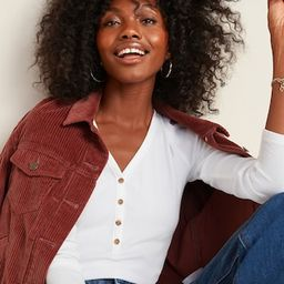 Slim-Fit Rib-Knit Long-Sleeve Henley Tee for Women | Old Navy (US)