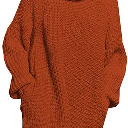 Pink Queen Women's Loose Oversize Turtleneck Wool Long Pullover Sweater Dress   Amazon (US)