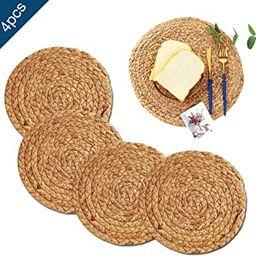 ZKZNsmart Set of 4 Round Woven placemat, Water Hyacinth Woven placemat, Grass Woven Placemats,H... | Amazon (CA)