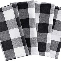 "Elrene Home Fashions Farmhouse Living Buffalo Check Napkins, Set of 4, 20"" X 20"", Black/White 4 | Amazon (CA)"