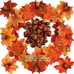 KUUQA 350 PCS Autumn Table Decorations Scatters Set, 300 Pieces Artificial Maple Leaves Fall Leav... | Amazon (CA)