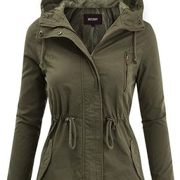 FASHION BOOMY Women's Zip Up Safari Military Anorak Jacket with Hood Drawstring - Regular and Plu... | Amazon (US)
