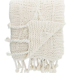Knitted Ivory Cotton Throw   McGee & Co.