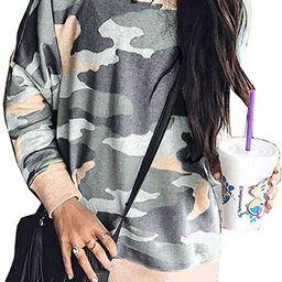 LANREMON Womens Camo Shirts Leopard Printed Sweatshirt Long Sleeve Fashion T-shirt Casual Loose P... | Amazon (US)