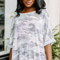 Get You There Gray Camo Top | The Mint Julep Boutique