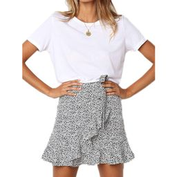 Womens Leopard Printed Summer Ruffle Short Mini Wrap Skirt   Walmart (US)
