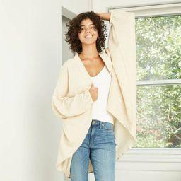 Women's Plaid Neutral Woven Overcoat Cocoon Jacket - Universal Thread™ Cream   Target