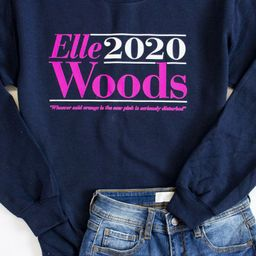 Elle Woods 2020 Graphic Navy Sweatshirt   The Pink Lily Boutique