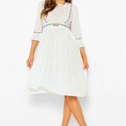 Embroidered Ruffle Sleeve Midi Dress | Boohoo.com (US & CA)